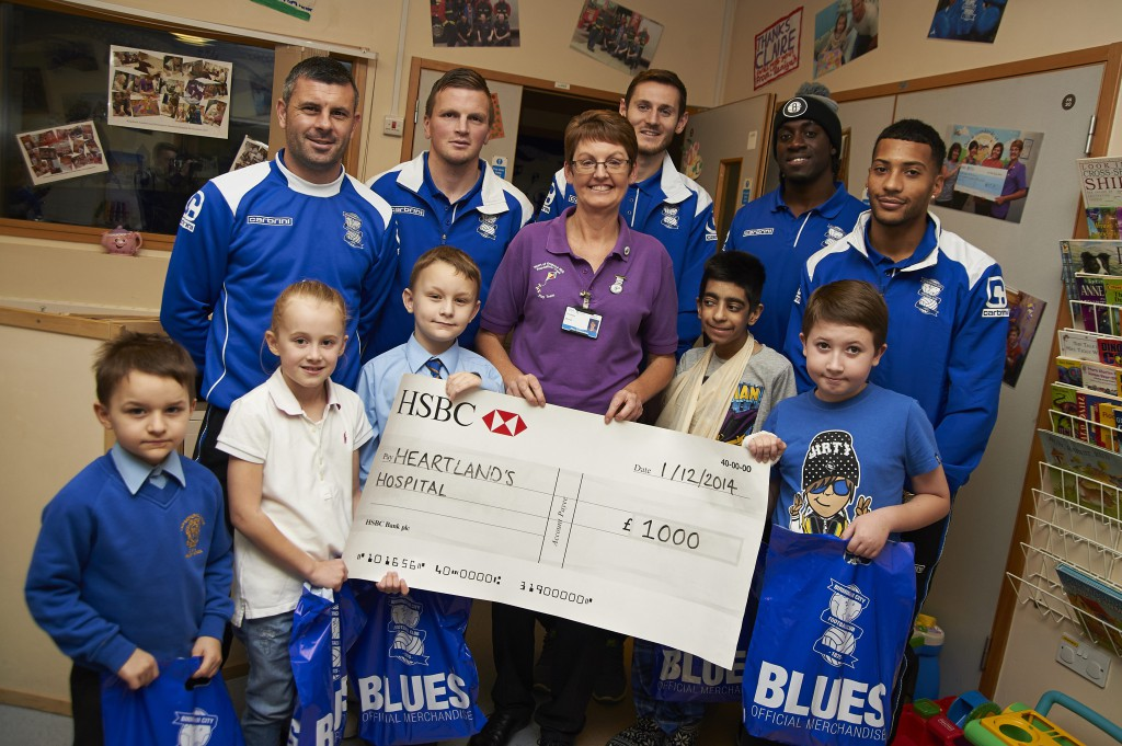 Blues bring festive cheer to Heartlands children's wards