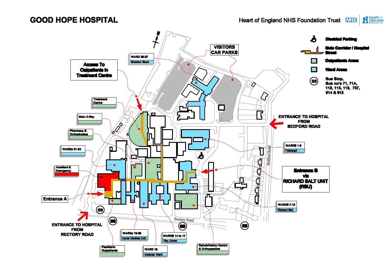 Map Of Uk Hospitals.Good Hope Site Map University Hospitals Birmingham Nhs Foundation