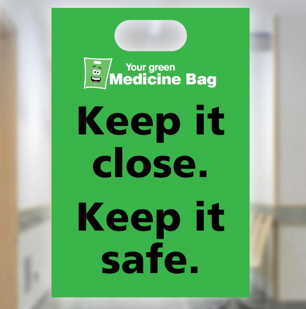 Green medicine bags available at GPs