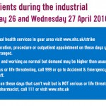 Industrial action by junior doctors between Tuesday 26 and Wednesday 27 April