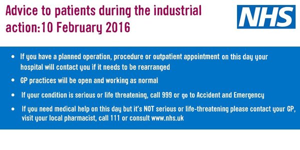 Industrial action by junior doctors on Wednesday 10th February