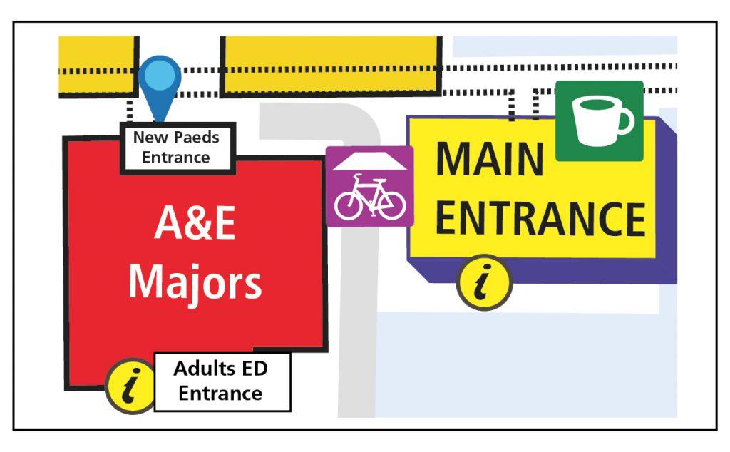 Heartlands Hospital's Children's A&E entrance has moved